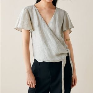 Zara linen wrap top with side bow